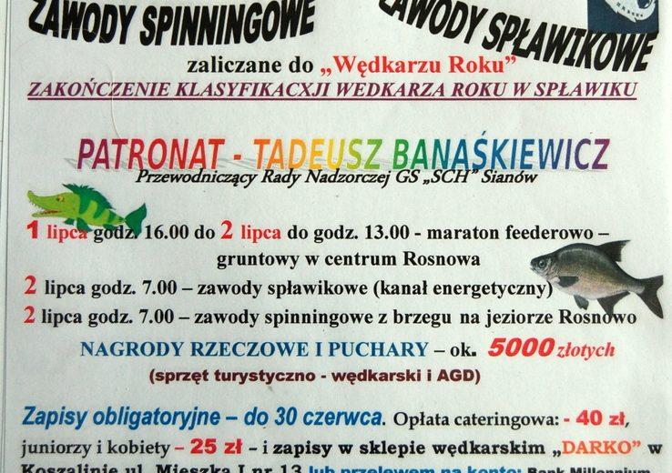 """ZAPROSZENIE – Festyn Wędkarski """"Puchar Leszcza"""" Rosnowo"""