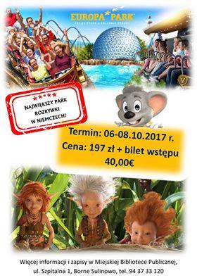 Miejska Biblioteka Publiczna w Bornem Sulinowie zaprasza na wycieczkę do Europa-Parku