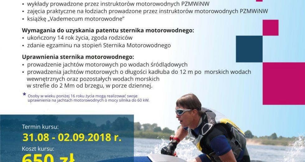 Zaproszenie na kurs na patent sternika motorowodnego